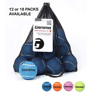 Gamma Bag of Pressureless Tennis Balls – 12 or 18 Count – 4 Colors