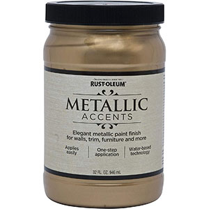Rust-Oleum Metallic Accents Paint, Quart, Soft Gold