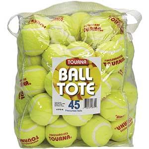 Tourla Pressureless Tennis Balls with Vinyl Tote (45 Pack of Balls)