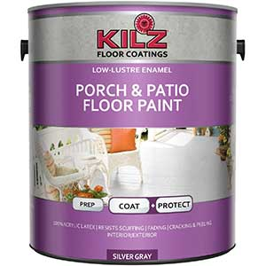 KILZ Latex Wood Floor Paint for Interior/Exterior, Silver Gray