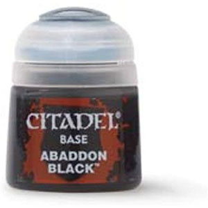 Citadel Base Paints for Warhammer | 12ml Bottles | Abaddon Black