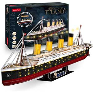 Cubicfun Titanic Model Kit | 7 Warm Light Strings | 2.8 lbs
