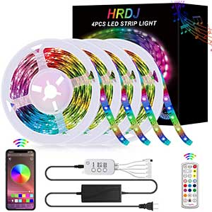 HRDJ LED strip lights/ RGB Color Changing/ Music Sync/ 4x16.4.""
