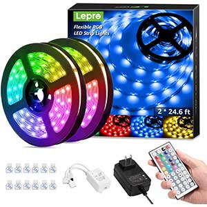 Lepro flexible RGB LED strip lights|with fixing clips/ 24.6""