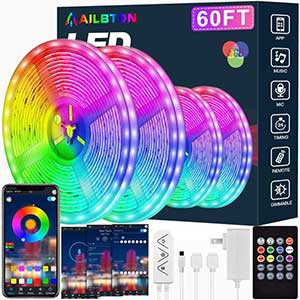 AILBTON LED Strip Lights Sync with Music | 60 Ft
