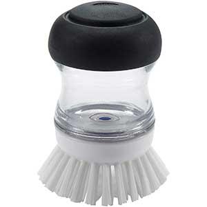 OXO Good Grips Soap Dispensing Dish Brush | No Leakage | Black /Clear /White