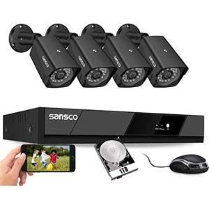 SANSCO 8CH 1080P DVR Security System | 4pcs Cam | 1TB HDD