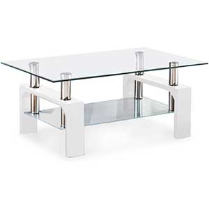 Mecor   Rectangle Glass Coffee Table For Sectional   Metal Legs